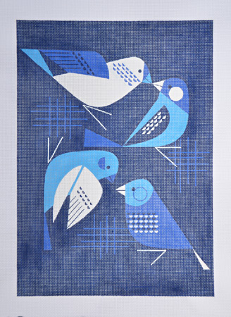 click here to view larger image of Bye Blue Finches - 18ct (hand painted canvases)
