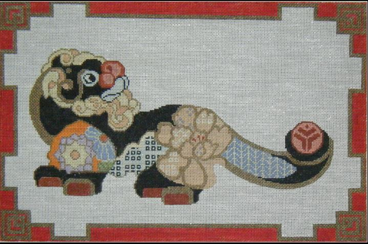 click here to view larger image of Cloissonne Foo Dog - White background (hand painted canvases)