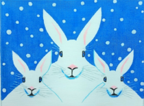 click here to view larger image of Winter Bunnies (hand painted canvases)