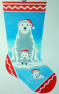 click here to view larger image of Mini Polar Bear Stocking (hand painted canvases)