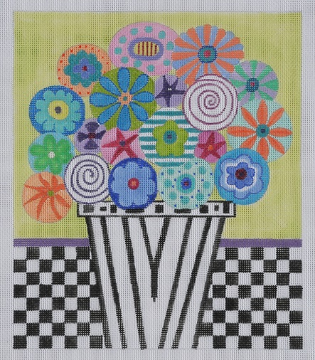click here to view larger image of Flowers and Checks (hand painted canvases)