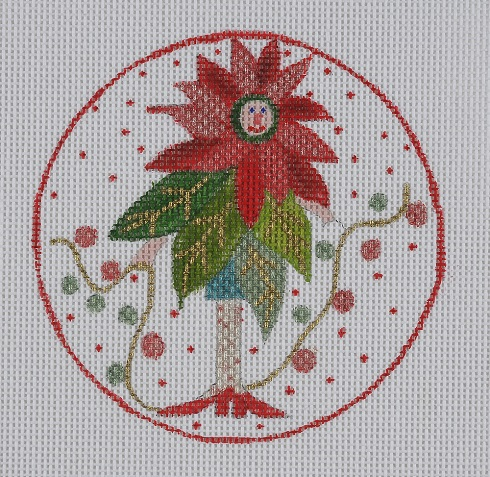click here to view larger image of Poinsettia Lady Ornament (hand painted canvases)