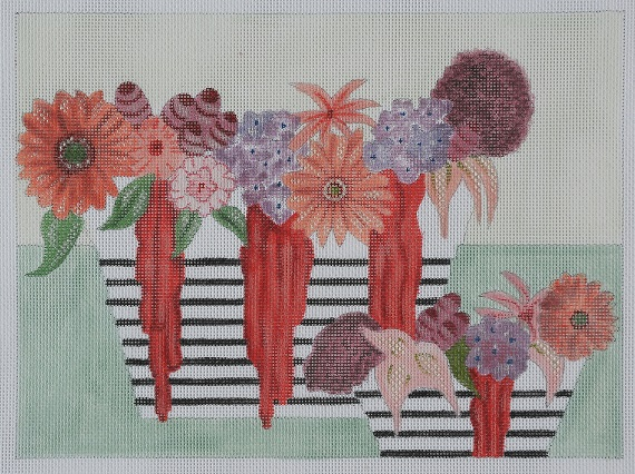click here to view larger image of Flowers With Stripe Vase - Stitch Guide (books)