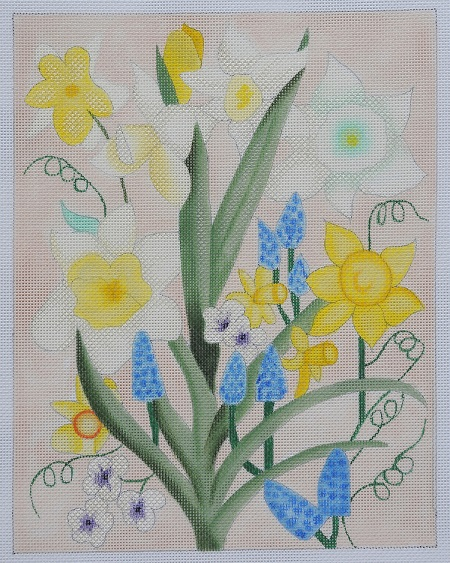 click here to view larger image of Daffys and Grape Hyacinths (hand painted canvases)