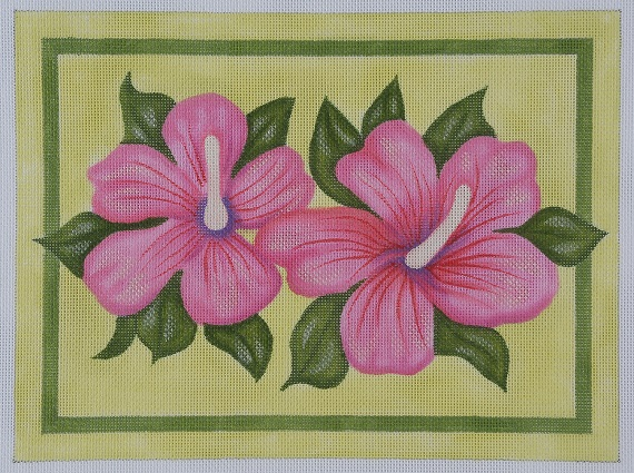 click here to view larger image of Double Hibiscus (hand painted canvases)