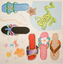 click here to view larger image of Beach Sandals / Frog (hand painted canvases)