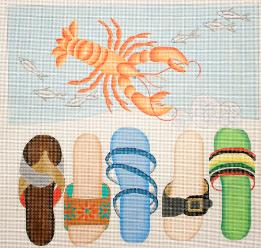 click here to view larger image of Beach Sandals / Lobster (hand painted canvases)
