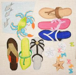 click here to view larger image of Beach Sandals / Crab (hand painted canvases)
