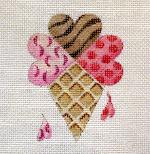 click here to view larger image of Ice Cream Cone - Hearts Of The Month (hand painted canvases)