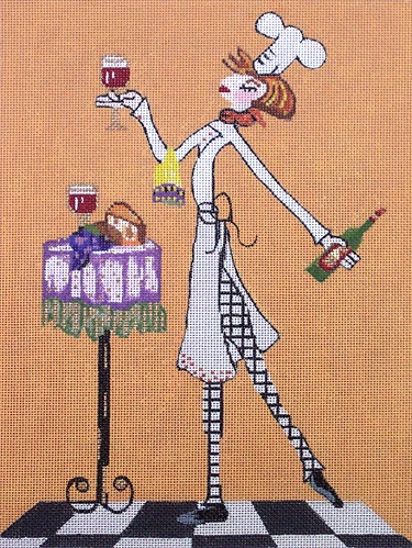 click here to view larger image of Woman Chef With Wine (hand painted canvases)