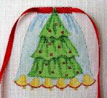 click here to view larger image of Christmas Tree and Bells - Apron Strings Of The Month (hand painted canvases)