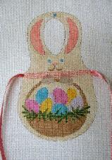 click here to view larger image of Easter Bunny - Bib Apron (hand painted canvases)