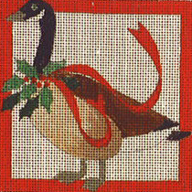 click here to view larger image of Christmas Goose Coaster (hand painted canvases)