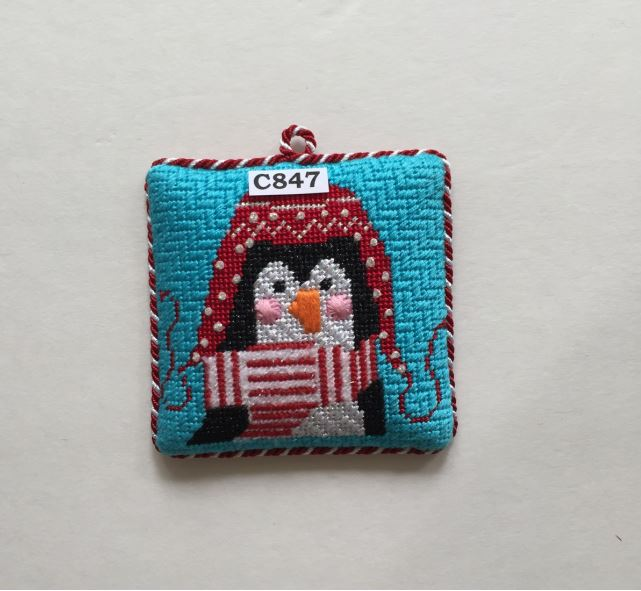 click here to view larger image of Christmas Penguin Ornament (hand painted canvases)