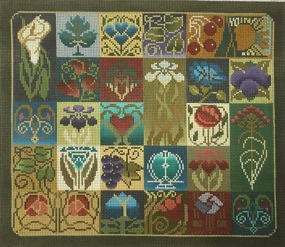click here to view larger image of Art Nouvea Tile - 13ct (hand painted canvases)