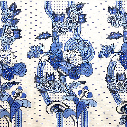click here to view larger image of French Floral Stripe / Blue / White Background (hand painted canvases)