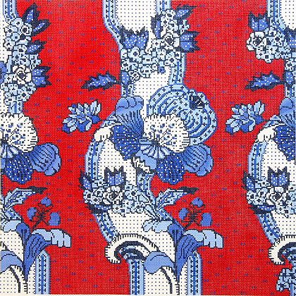 click here to view larger image of French Floral Stripe / Blue / White / Red Background (hand painted canvases)