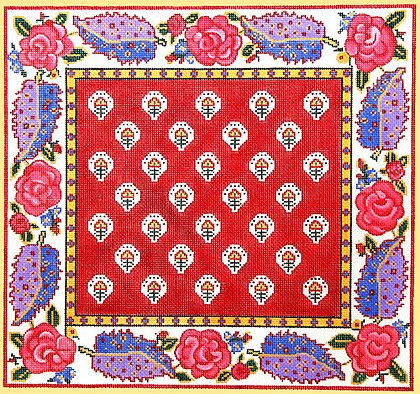 click here to view larger image of La Petite Fleur Border Pillow / Rouge (hand painted canvases)