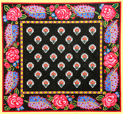 click here to view larger image of La Petite Fleur Border Pillow / Black (hand painted canvases)