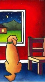 click here to view larger image of Dog and Window (hand painted canvases)