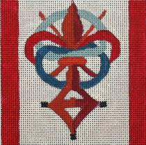 click here to view larger image of DaVinci Code (Priory of Sion symbol) - Movie Coaster (hand painted canvases)
