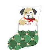 click here to view larger image of Dog In Stocking (hand painted canvases)