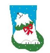 click here to view larger image of Polar Bear Mini Sock (hand painted canvases)