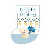 click here to view larger image of Baby's First Christmas - Blue Mini Sock (hand painted canvases)