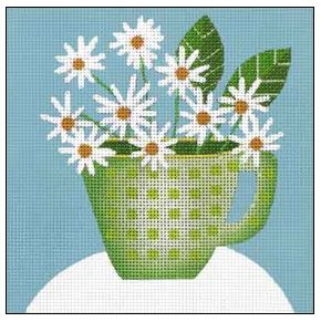 click here to view larger image of Daisy Cup (hand painted canvases)