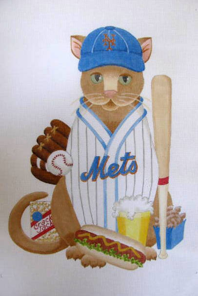 click here to view larger image of Baseball Cat - Mets (Custom) (hand painted canvases)