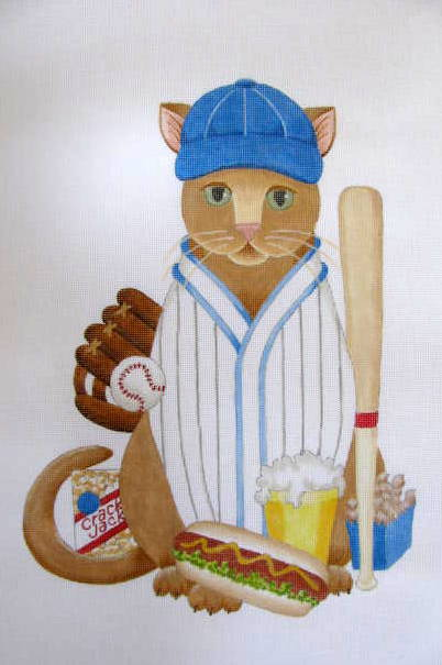click here to view larger image of Baseball Cat - CUSTOM (hand painted canvases)