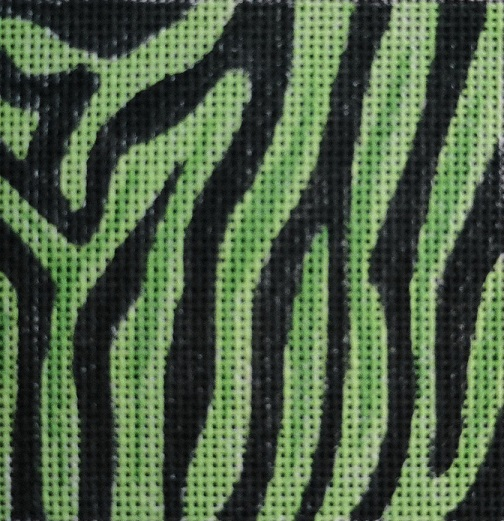 click here to view larger image of Green Zebra Skin Coaster (hand painted canvases)