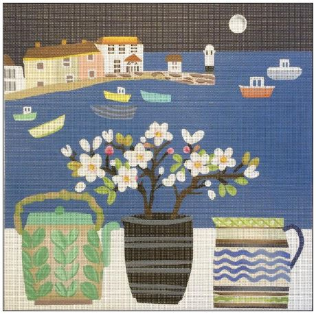 click here to view larger image of Moonlit Harbor (hand painted canvases)