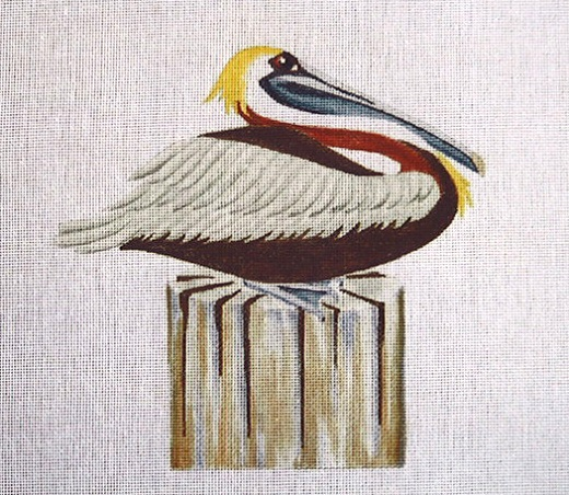 click here to view larger image of Pelican On Piling (hand painted canvases)