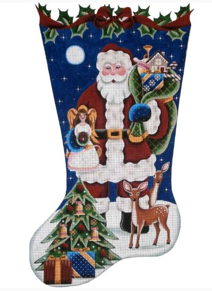 click here to view larger image of Angel Topper Santa Stocking (hand painted canvases)