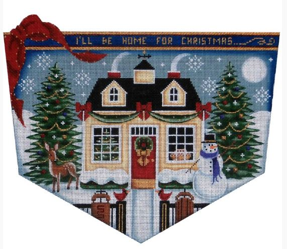 click here to view larger image of Christmas Cottage Topper - 13ct (hand painted canvases)
