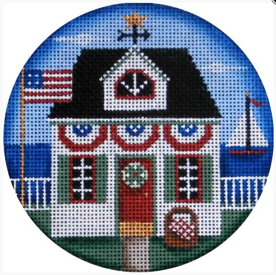 click here to view larger image of Patriotic Cottage (hand painted canvases)