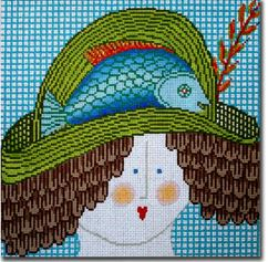 click here to view larger image of Lady With Hat - Fish (hand painted canvases)