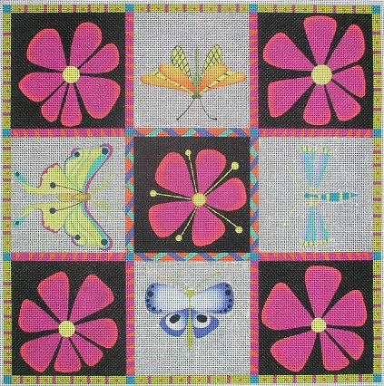 click here to view larger image of Five Clematis Four Bugs - 13ct (hand painted canvases)