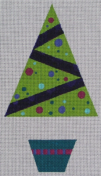 click here to view larger image of Purple Dot Tree Ornament (hand painted canvases)