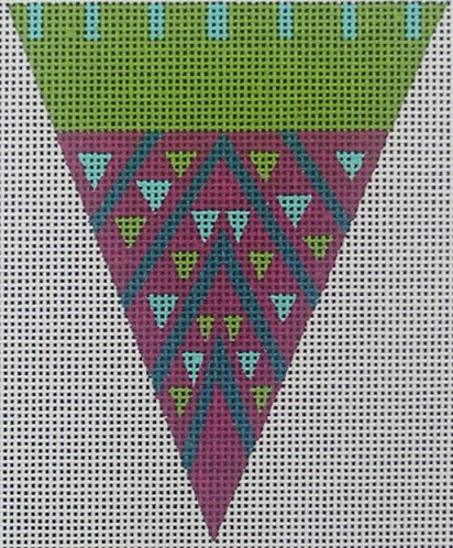 click here to view larger image of Purple Dot Triangle Ornament (hand painted canvases)