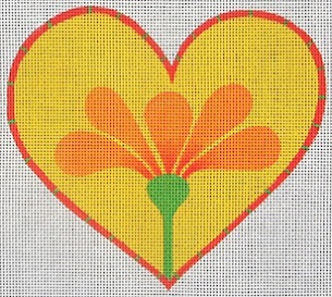 click here to view larger image of Heart With Orange Flower (hand painted canvases)