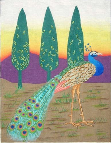 click here to view larger image of Three Trees And A Peacock - 18ct (hand painted canvases)