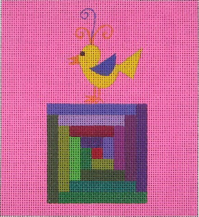 click here to view larger image of Little Chick On A Quilt Block (hand painted canvases)