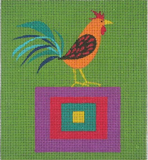 click here to view larger image of Rooster On A Quilt Block (hand painted canvases)