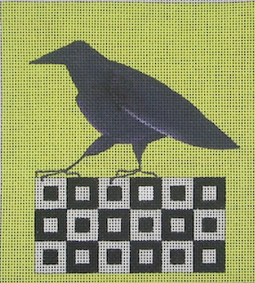click here to view larger image of Raven On A Quilt Block (hand painted canvases)