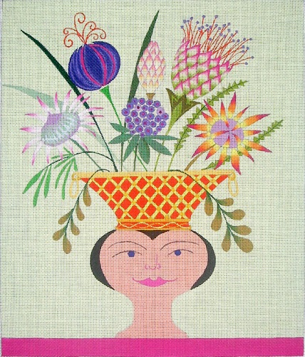 click here to view larger image of Summer Head Vase - 18ct (hand painted canvases)