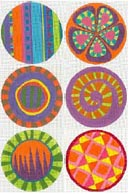 click here to view larger image of Six Circle Set - Orange (hand painted canvases)
