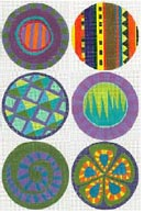 click here to view larger image of Six Circle Set - Purple (hand painted canvases)