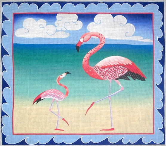 click here to view larger image of Flamingos - 13ct (hand painted canvases)
